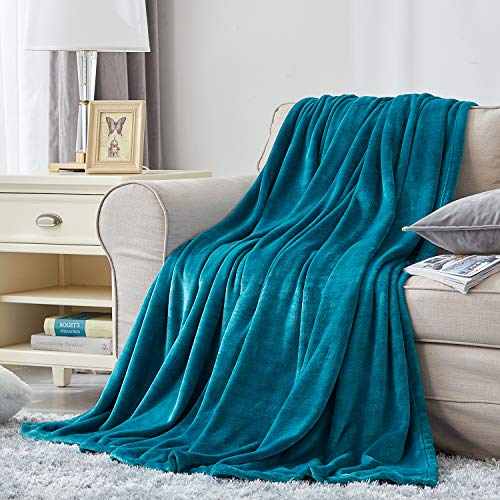 Hansleep Fleece Blanket Sofa Throw - Teal Throw Fluffy Soft Small Throws and Blankets for Beds Settees Couch Chairs Single Size, 130x165cm