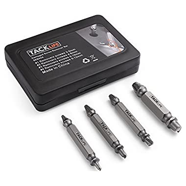 Tacklife Damaged Screw Extractor Set, 4pcs Stripped Screw Remover with Case, Made of High-Speed Steel 6542#, Hardness 63-65HRC, SEB04A