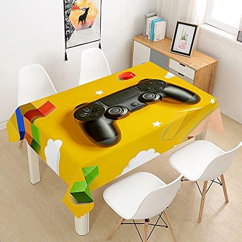 FANSU Juego Manteles de Mesa Rectangular para Decorar, Impermeable Antimanchas Comedor Cuadrada de Impresión Manteles para Cocina/Cena/Picnic Decoración (Amarillo,140x220cm)