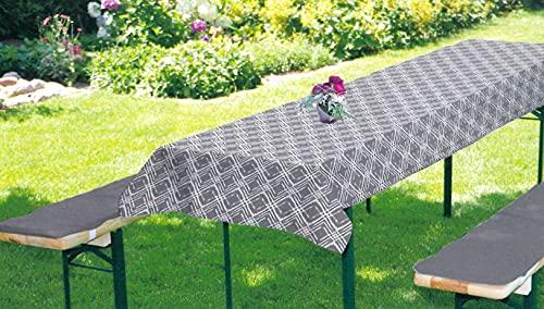 BRANDSSELLERBierbankauflagen-Set passend für gängige Biertische und Bänke 2 gepolsterte Bankauflagen je ca. 220x25x2 cm und 1 Tischdecke 240x70 cm Grau/Muster
