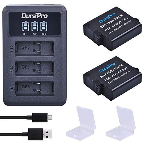 Durapro 2X AHDBT-501 Akku + LED USB Ladegerät mit Typ C Port für Gopro 7 GoPro 5 Gopro 2018 GoPro Hero 6 Kameras