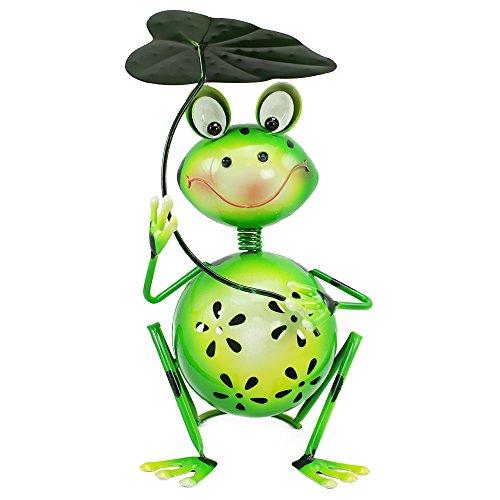 com-four® Dekofigur sitzender Frosch mit Blatt - Gartenfigur aus bunt lackiertem Metall im Frosch-Design - ca. 30x18x18cm (1 Stück - sitzender Frosch mit Blatt)