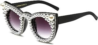 Oversized Pearl Sunglasses Women Cat Eye Rhinestone Sun Glasses Luxury Brand