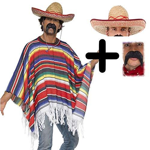 MFD Mexican Poncho + Sombrero + Tash One Size