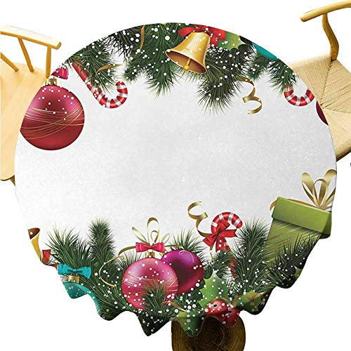Christmas Tablecloth - 50 Inch Round Tablecloth Kitchen Christmas Easy to Care Happy New Year Greeting Decoration with Holly Garland Artful Design Green Maroon
