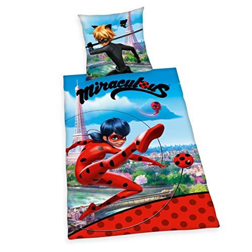 Herding Miraculous Ladybug und Cat Noir Bettwäsche Set, Mehrfarbig, Kopfkissen Bezug 80 x 80 cm, Bettdecken Bezug 135 x 200 cm