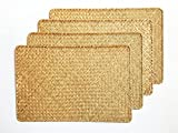 Placemats Set of 4,Seagrass Handwoven Rectangular for Dinning Table 17X12inches(Brown, 4530)