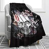 Jekeno Sugar Skull Blanket Skull Rose Design Skeleton Smooth Soft Black Print Throw Blanket for Kid Sofa Chair Bed Office Gift 50'x60'