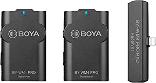 Boya 2.4GHz Dual-Channel Wireless Transmission Recording Microphone with MFi Certified Apple Lightning Connector - Ideal f...