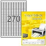 TopStick Etichette Universali, 17,8 x 10 mm, Etichette Adesive A4 per Stampante, 270 Etichette per Foglio, Bianco