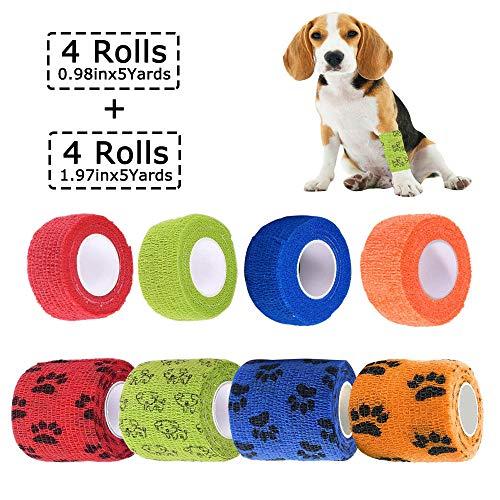 Bendaggio Coesivo Autoadesivo, Fasciatura Benda Elastica Coesiva per Cani Animali, garza Bende veterinario adesive, in 4 colori, 2,5 cm x 4,5 m (4 rotoli), 5 cm x 4,5 m (4 rotoli)