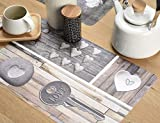 Venilia Tischset Platzset für Esszimmer, 4er Set abwischbar Polypropylen, lebensmittelecht 45 x 30 cm, 4 Stück, 59081, Kunststoff, Country Key of Love Braun, Muster - 4