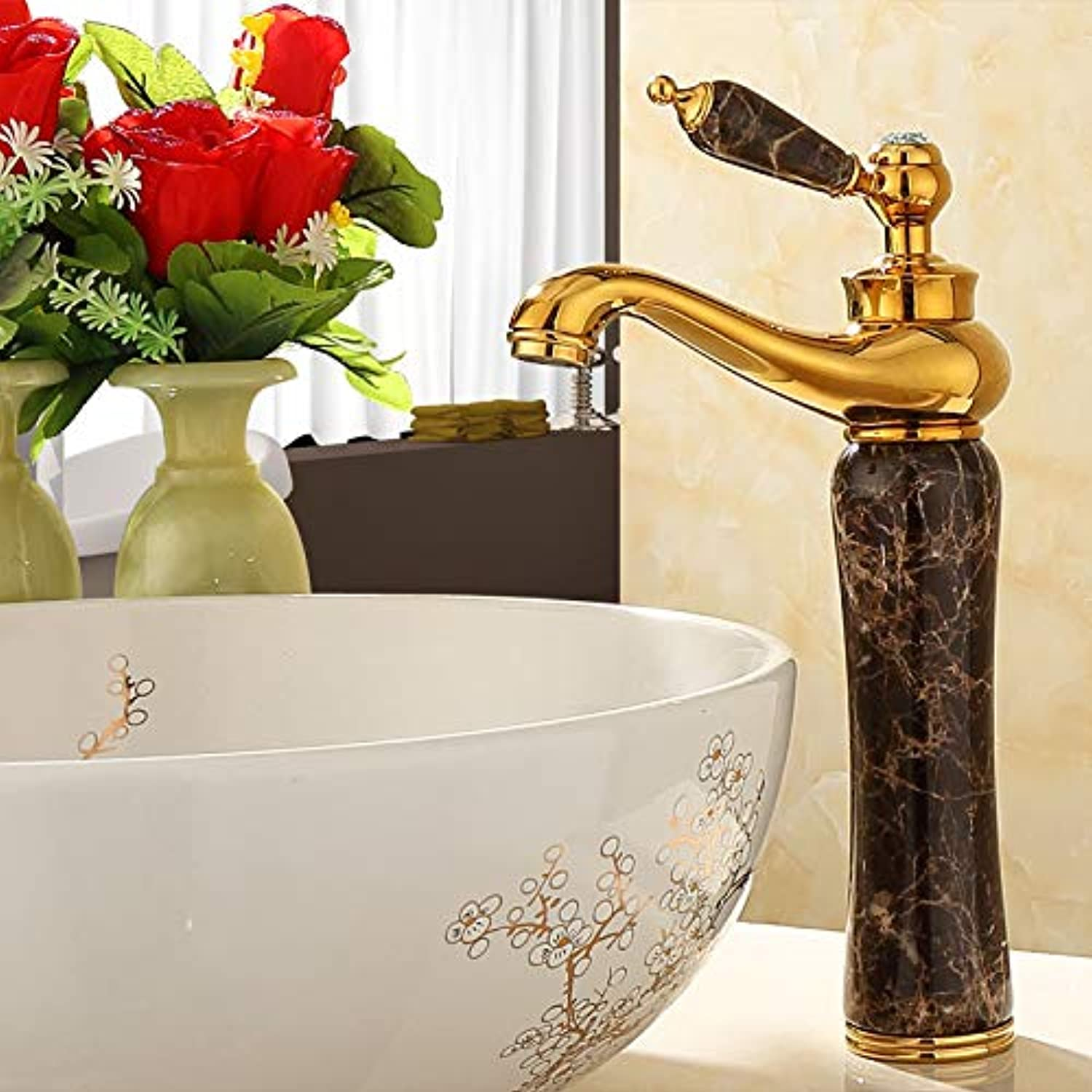 Tub Taps Faucet Copper Natural Jade Above Counter Basin Faucet gold Basin redating Height Faucet, Coffee Network Section D