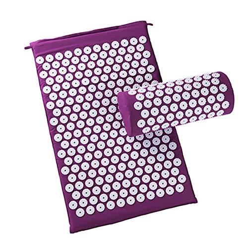 Redsa Akupunkturmatte und Kissenbezug Yoga-Tasche mit Reisetasche Yoga-Akupunktur-Massagematte mit Kissenbezug kann Ischias im Nacken lindern und entspannen (lila)