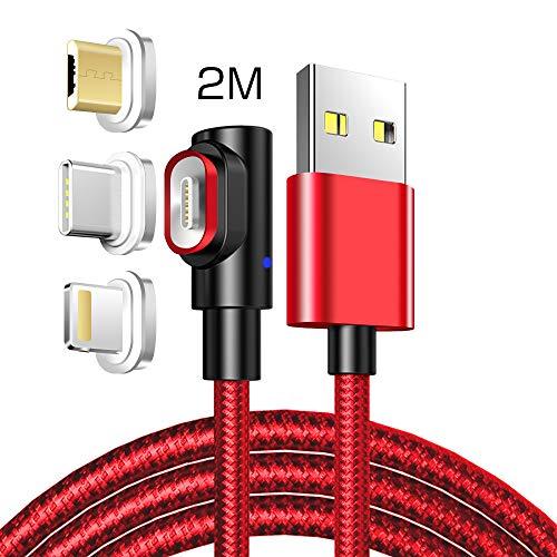 LAMA Cavo di Ricarica ad Angolo Retto, [3A 6.6ft] Cavo Magnetico USB Cavo di Ricarica Multiplo con Lighten Tipo C Micro USB Connettori Magnetici per Ricarica/Trasferimento Dati Rosso