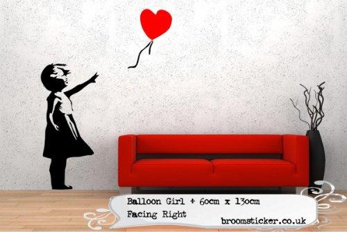Banksy Balloon Girl Wandtattoo 60x 130cm, nach rechts ausgerichtet