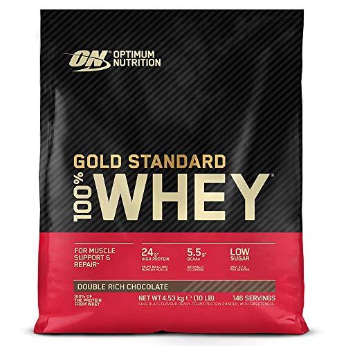 Optimum Nutrition Gold Standard 100% Whey Proteína en Polvo, Glutamina y Aminoácidos Naturales, BCAA, Double Rich Chocolate, 146 Porciones, 4,54kg, Embalaje Puede Variar ⭐