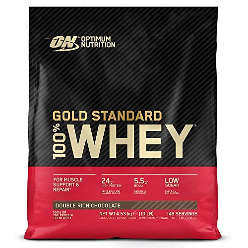 Optimum Nutrition ON Gold Standard 100% Whey Proteína en Polvo, Glutamina y Aminoácidos Naturales, BCAA, Double Rich Chocolate, 146 Porciones, 4.54kg, Embalaje Puede Variar
