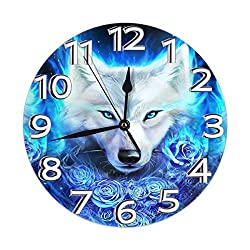 FeHuew Fantasy Wolf and Roses Decorative Wall Clock 9.5 Inch Non Ticking Battery Operated for Student Office School Home Decor Round Silent Desk Clock Art