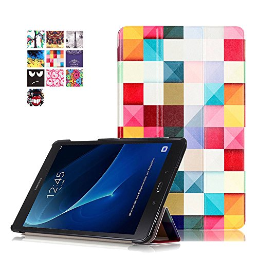 Samsung Tab A6 10.1 Schutzhülle,PU Leder Smart Hülle Flip Cover für Samsung Galaxy Tab A 10.1 Zoll Wi-Fi/LTE (2016) SM-T580N/SM-T585N Tablet Schutzhülle Etui Tasche mit Support-Funktion,Bunte Würfel