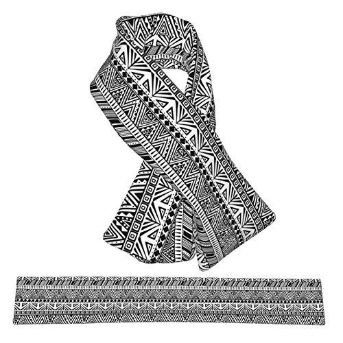 Bufanda cruzada de franela de doble capa con patrn tnico primitivo y esponjoso para el cuello de la bufanda, calentador de cuello para invierno