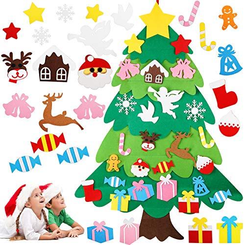 LOVEXIU Albero di Natale in Feltro per Bambini, Albero di Natale Fai-da-Te, Decorazioni Natalizie da Appendere per Finestre E Porte, Regali di Natale, Compleanno E Regalo di Capodanno per Bambini