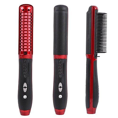 Brosse lisseur cheveux, Willdo Défriser les Cheveux Anti Scald Anti Statique Fer à lisser avec Technologie Ionique (Rouge)