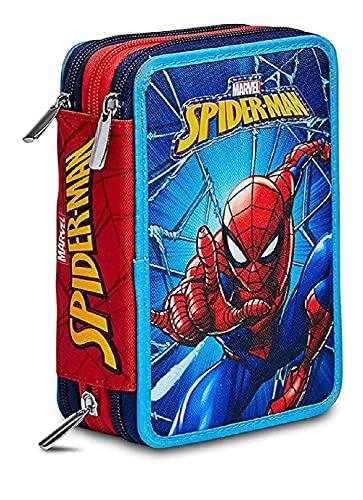 Astuccio Scuola Spider Man 3 Zip Completo Triplo Uomo Ragno 19x13x6 cm