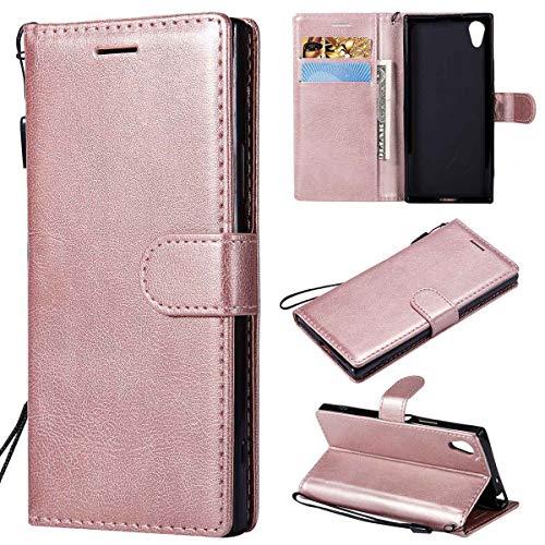 Sangrl PU-Leder Schutzhülle Für Sony Xperia XA1, Business PU Leder Wallet Tasche Cover Mit Kartenfächer Flip Hülle Für Sony Xperia Z6 - Roségold