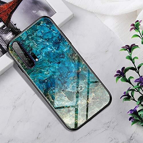 Dmtrab Phone Case para Huawei Honor 20 Pro Caso, Vidrio Templado a Prueba de Golpes + Funda Protectora TPU (Nebulosa Colorida) Tapa de Paquetes (Color : Emerald)