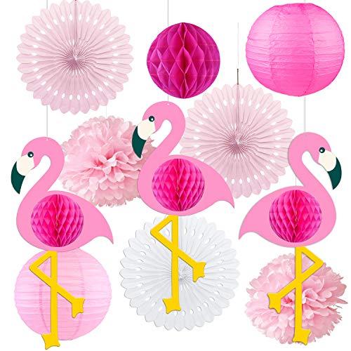 11 Stück Flamingo Party Deko Set, Hängende Papier fächer Laternen und PomPoms Deko, Seidenpapier Pompoms für Hawaiian Luau Strand Geburtstag Hochzeit Foto Dekor