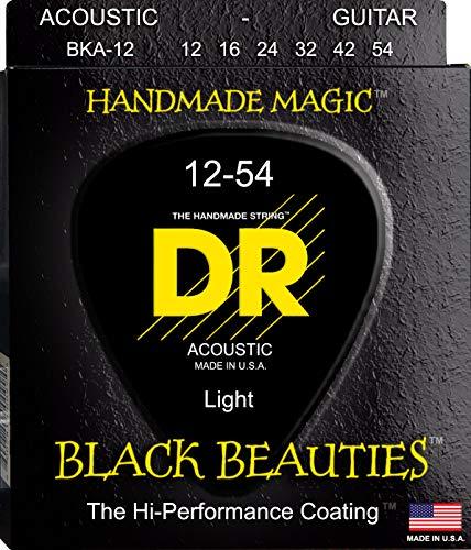 DR Strings Acoustic Guitar Strings, Black Beauties - Black Coated, 12-54