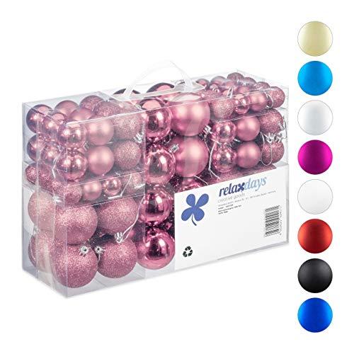 Relaxdays Weihnachtskugeln, 100er Set, Weihnachtsdeko, matt, glänzend, glitzernd, Christbaumkugel ∅ 3, 4 & 6 cm, rosa