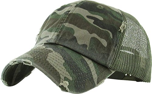 Unconstructed Low Profile Distressed Trucker Hat - Camo