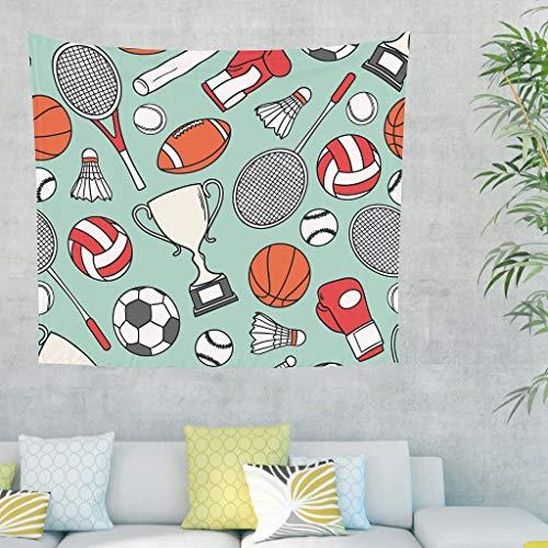 Gamoii Tapiz para colgar en la pared con boxeo, bádminton, fútbol, baloncesto, deportes, manta de playa, esterilla de yoga, decoración de pared, funda para sofá, color blanco, 100 x 150 cm