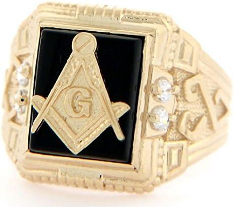 Jewelry Liquidation 10k Solid Yellow Gold 10x12mm Onyx Masonic CZ Mens Ring product image