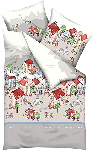 Kaeppel Kinder-Bettwäsche Stadtleben Biber rot-beige Größe 100x135 cm (40x60 cm)