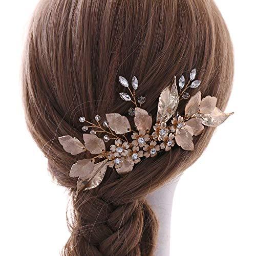 Azaleas haarsieraad bruid gouden haarkam bruiloft legeringsblad haaraccessoires communie (HP297) Eén maat goud