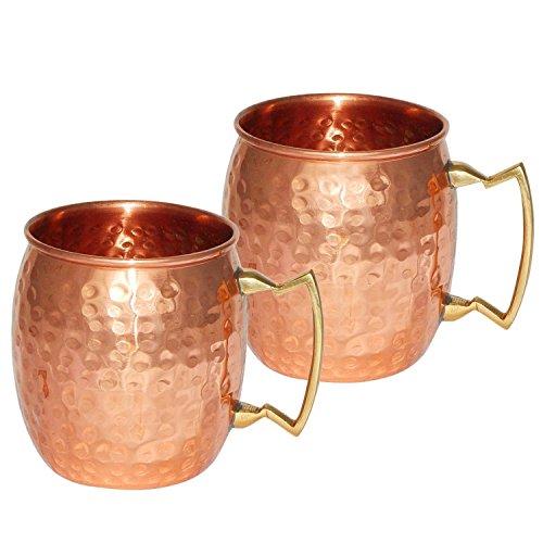 Hecho a mano de cobre martillado puro de Moscow Mule-juego de vasos (2)