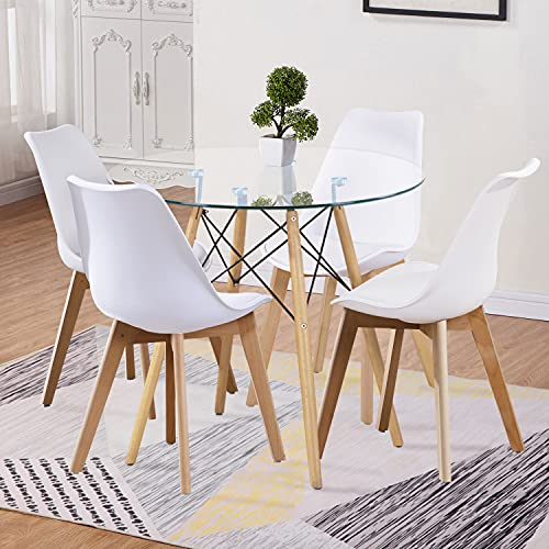 GOLDFAN Glass Dining Table and 4 Chairs Modern Round Kitchen Table and PU Faux Leather Cushion Chairs Dining Table Set, 80CM/White