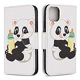 Hirkase iPhone 11 6.1 Zoll Hülle, iPhone 11 6.1 Zoll Schutzhülle Farbe Holster Halter Funktion Brieftasche Kartenhalter Handyhülle weiche TPU Silikon Anti Rutsch Stoßfest(Babyflasche Panda)