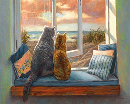 WOWDECOR DIY Malen nach Zahlen für Erwachsene Kinder Mädchen, KatzeLöwePferdElefant 40x50cm Vorgedruckt Leinwand-Ölgemälde (Katze, ohne Rahmen)