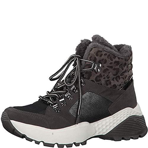 s.Oliver Femme Boots 25242-23, Dame Bottes à Lacets, Chaussures de Sport,Baskets Hautes,Lacets,Dark Grey,38 EU / 5 UK
