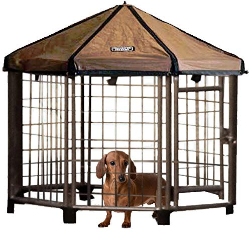 Advantek Pet Gazebo Outdoor Metal Dog Kennel with Reversible Cover, 3 Foot
