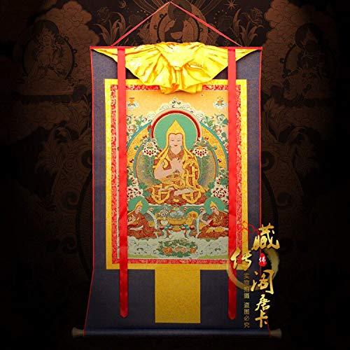 Tres pinturas bordadas Thangka por el maestro Tsongkhapa del pabellón tibetano, maestro de brocado de tangka, maestro y aprendiz de FYYEUR