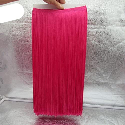 10 Metros / Lote 50 CM de Largo de Encaje con Flecos y Flecos Cinta de Adorno de Encaje para Coser Vestido Latino Cortina de Ropa de Escenario Accesorios de Bricolaje-Rosa Rojo