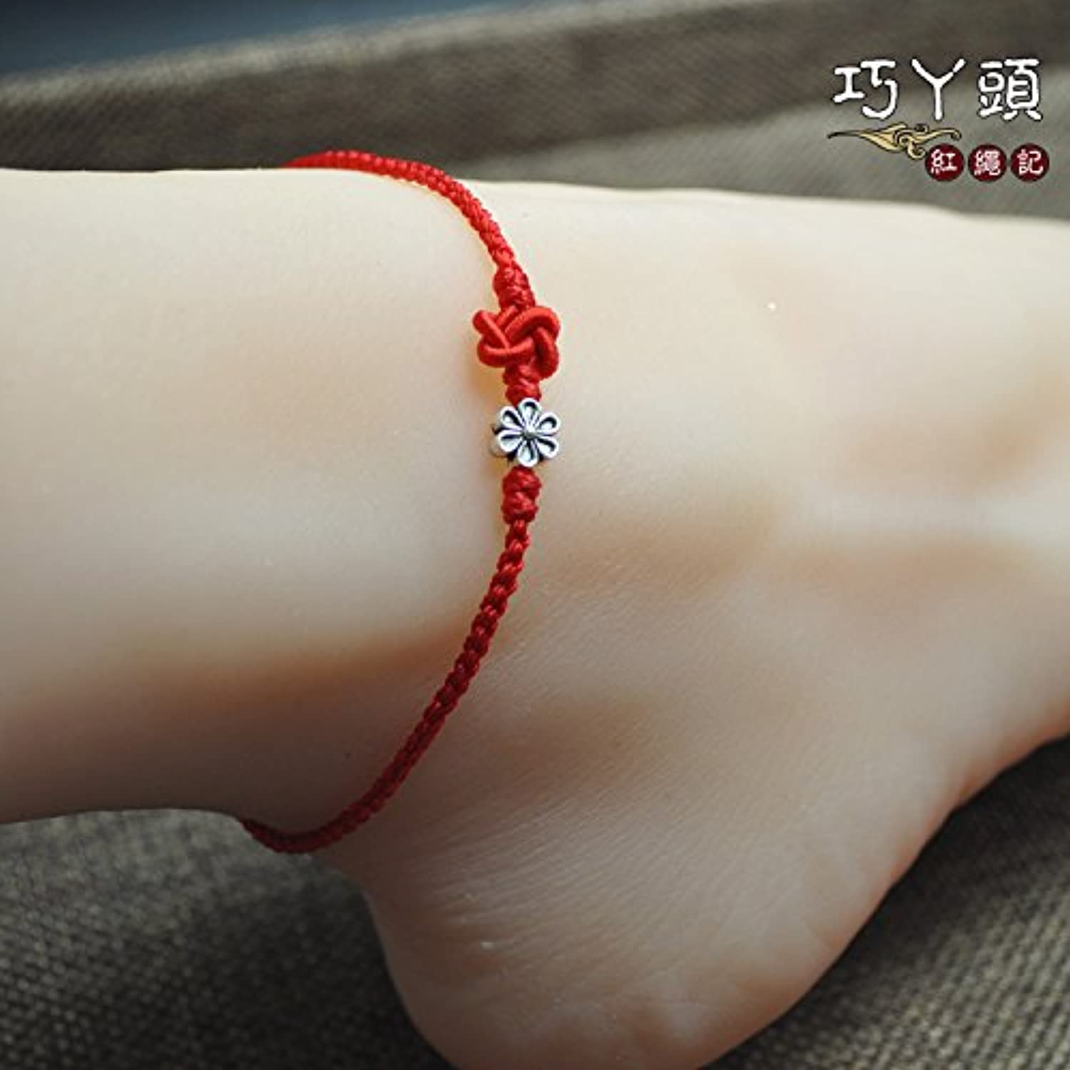 Hand Preparation Benming red String Transporter fine Silver Flowers Foot Rope Knot Foot Chain Anklet Jewelry Gift Girlfriends