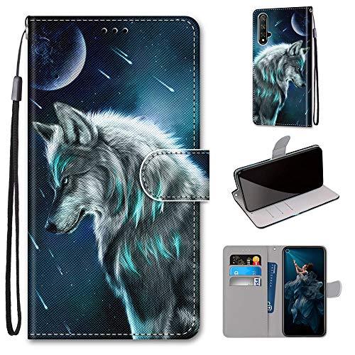 Miagon Flip PU Leder Schutzhülle für Huawei Honor 20,Bunt Muster Hülle Brieftasche Case Cover Ständer mit Kartenfächer Trageschlaufe,Himmel Wolf