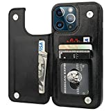 ONETOP Compatible with iPhone 13 Pro Max Wallet Case with Card Holder,PU Leather Kickstand Card Slots Case, Double Magnetic Clasp and Durable Shockproof Cover 6.7 Inch(Black)