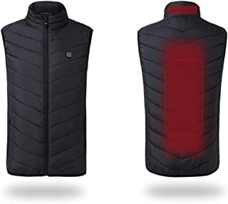 Decdeal 2019 Electric USB Heated Warm Security Intelligent Autumn and Winter Vest Men Women Heating Coat Jacket for Motorcycle Travelling Skiing Hiking